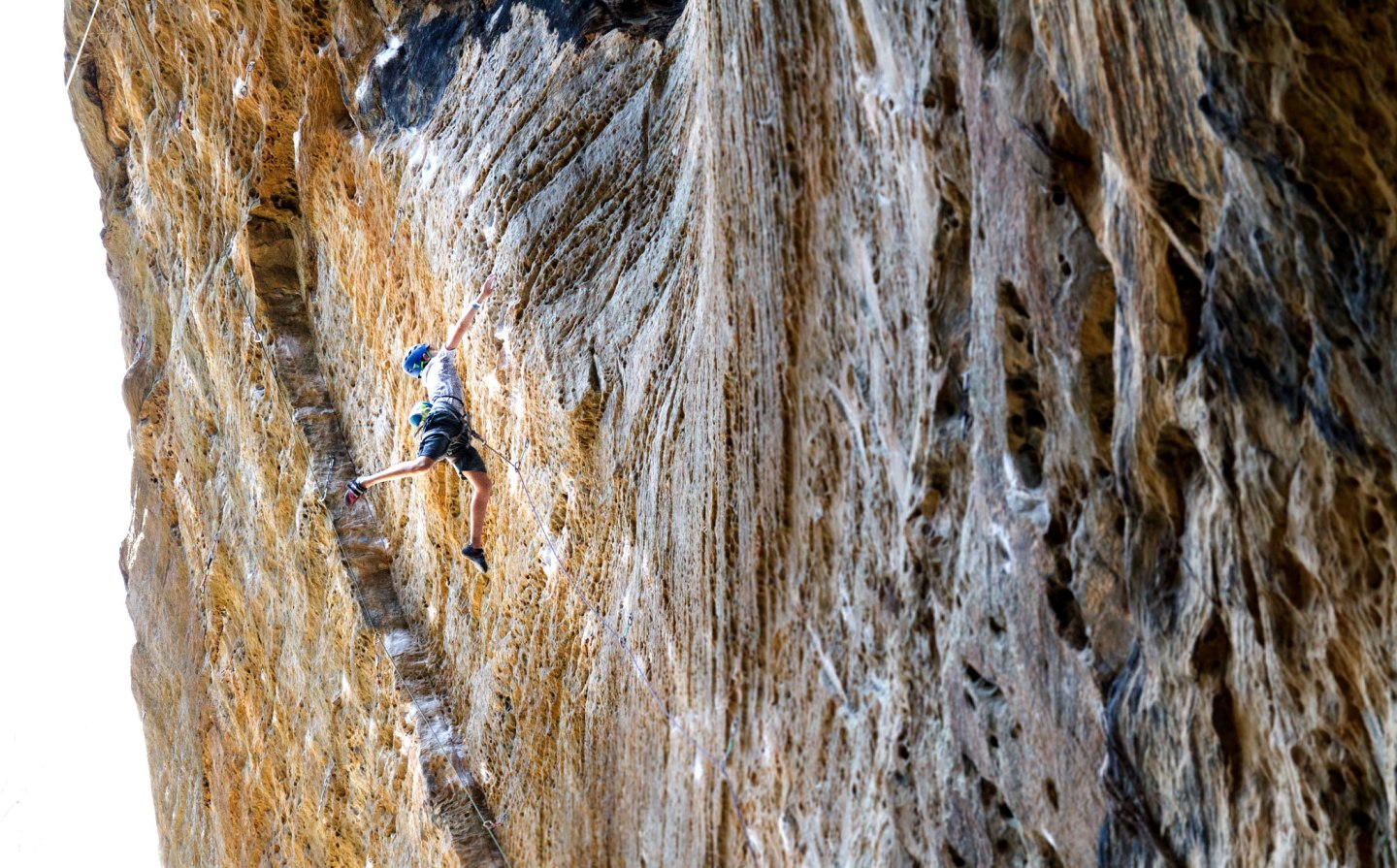 """Male climber on """"Snooker"""" at the Red River Gorge   Photo credit: Jennie Jariel"""