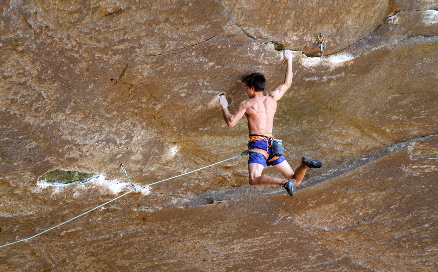 "Clay Gordon on ""Thug Life"" at the Red River Gorge. Photo credit: Jennie Jariel"