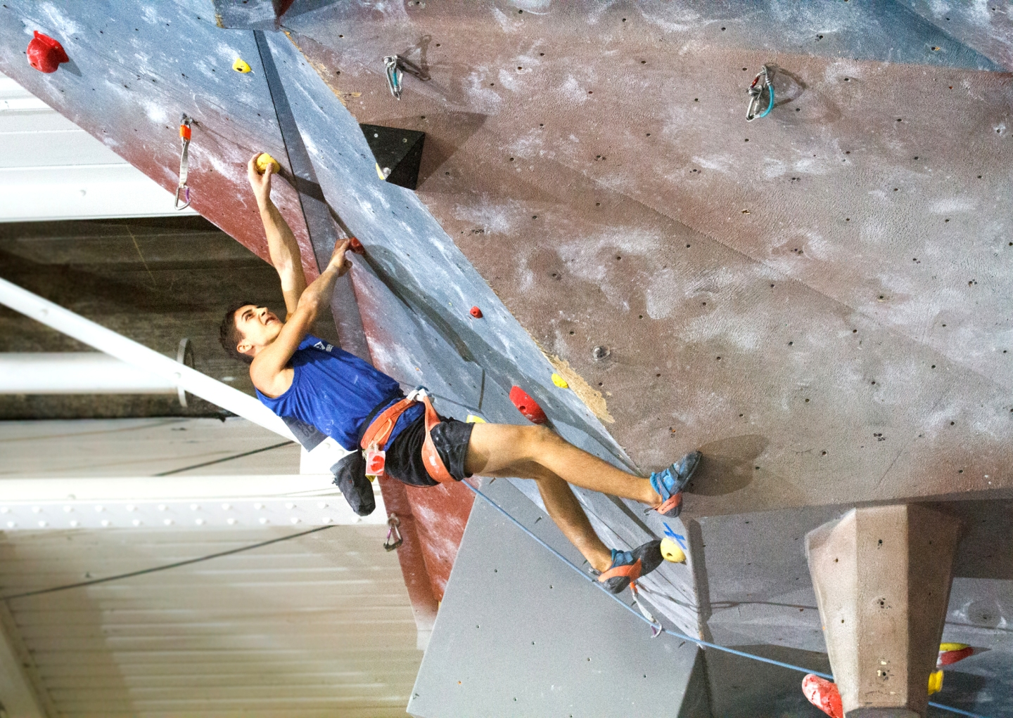 Charlie Osborne climbing at the 2017 IFSC Panamerican Youth Championship in Montreal, Canada | Photo credit: Jennie Jariel